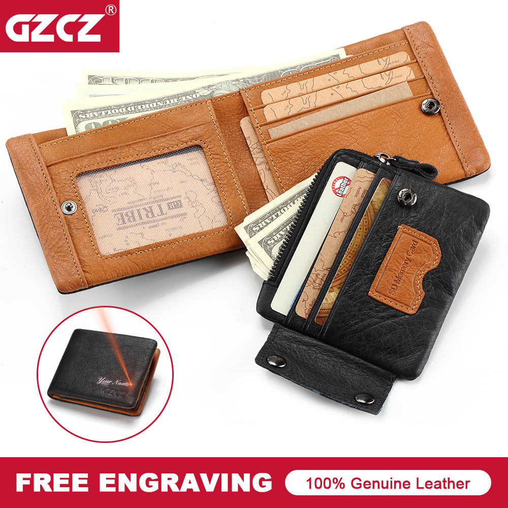 GZCZ Brand Mens Wallet Leather Genuine Vintage Male Purse Zipper Poucht Card Holder Man Clamp For Money Drop Shopping Portomonee