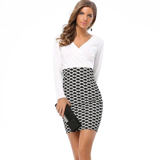 Fashion Bodycon Plaid Casual Pencil Dress Full Sleeve V Neck Above