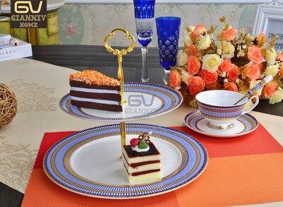 Porcelaine À Double-couche Conseil Gâteau Fruits Collation Plaque En Relief Motif Anglais Après-Midi Thé En Céramique Café Tasse Plateau Vaisselle