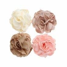 5pcs Fine Soft Satin Chiffon Flowers Newborn Baby Hair Barrettes First Birthday Headwear DIY Kids Girls Cilps Accessories