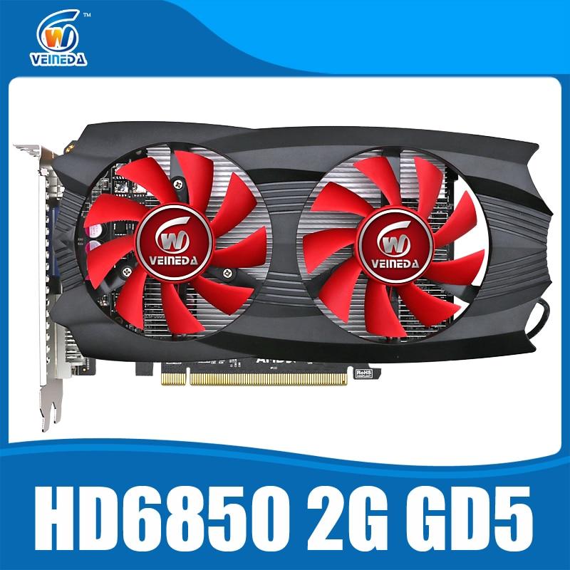 Prix pour HD6850 2 GB D'origine carte graphique HD6850 2 GB GDDR5 Jeu Carte HDMI VGA DVI port pour bureau Forte Que HD6750, R7 350, R7 250