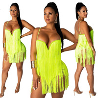 2019 Fashion Sexy Night Club Party Sling Tassel Bandage Sleeveless Dress for Women 2 Pieces Set Beach Set Summer Hot