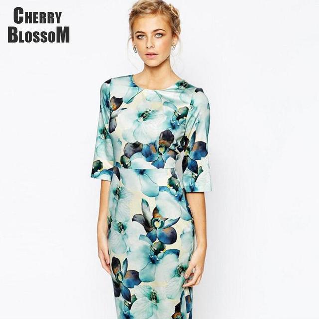Aliexpress.com : Buy Elegant Knee Length Dress Women Office Lady ...