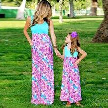 Платья для мамы и дочки с принтом Семья Одинаковая одежда 2018 Лето мама и одежда для детей Семейный комплект одинаковые для мамы и дочки