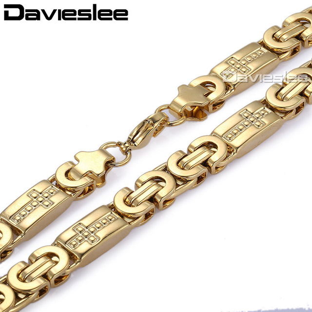 fdb83bfc8 Davieslee para hombre collar cadena oro plata Color plano Byzantine enlace  Cruz Acero inoxidable joyería Vintage