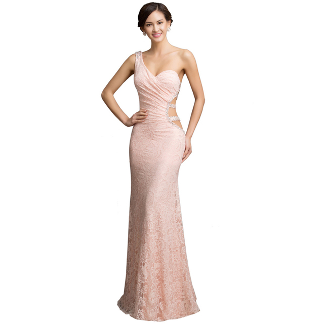 Mermaid Dress Long Pink Evening Dresses with One Shoulder Vestidos de Festa  Backless Lace Wedding Party 0a2c8389bf15
