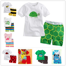 hot deal buy children boys clothing sets cotton short sleeved summer cartoon tortoise baby clothing new year girls pajamas suits