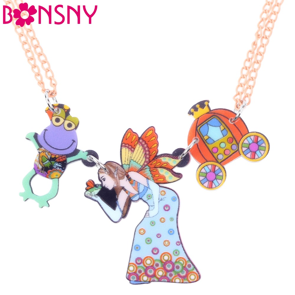 Bonsny Fairy Necklace Pendant Acrylic Angel Frog Pattern ...