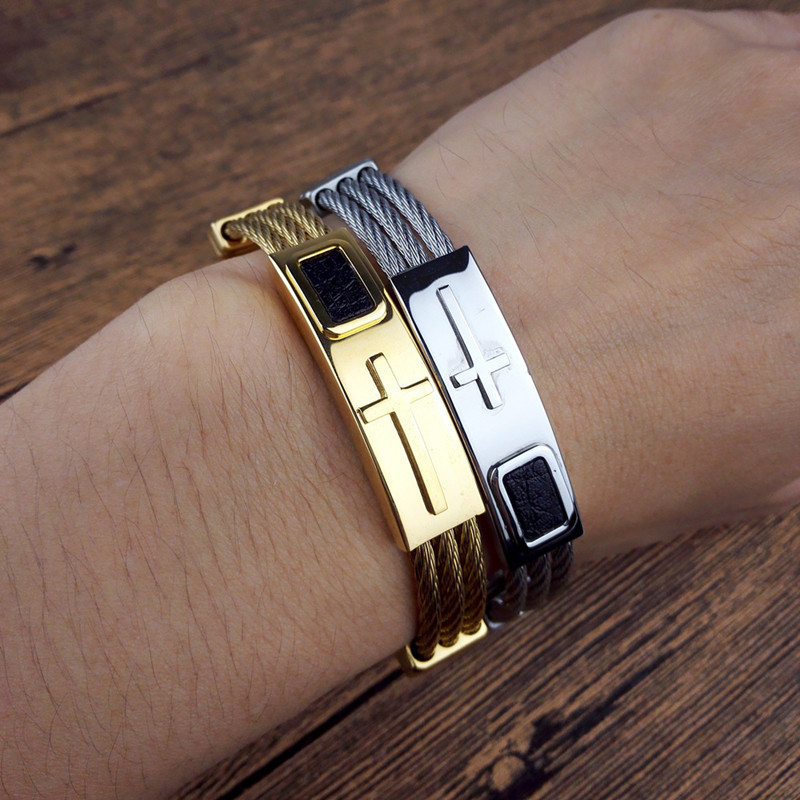 2018 New fashion Gold Jesus Cross Bracelet Men Jewelry Stainless Steel Mens Rock Bracelets & Bangles Leather Pulseira Masculina cool square stainless steel bracelets men new arrival punk rock mens bracelets