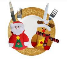 10pcs Christmas Decorations for Home Party Table Cutlery Bags Snowman Santa Claus Tableware Holder Pocket Navidad Natal Ornament