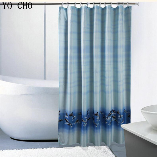 Blue Bathroom Curtian Polyester Dolphin Sea Shower Curtain Bath Thicken Waterproof Customized Curtains With