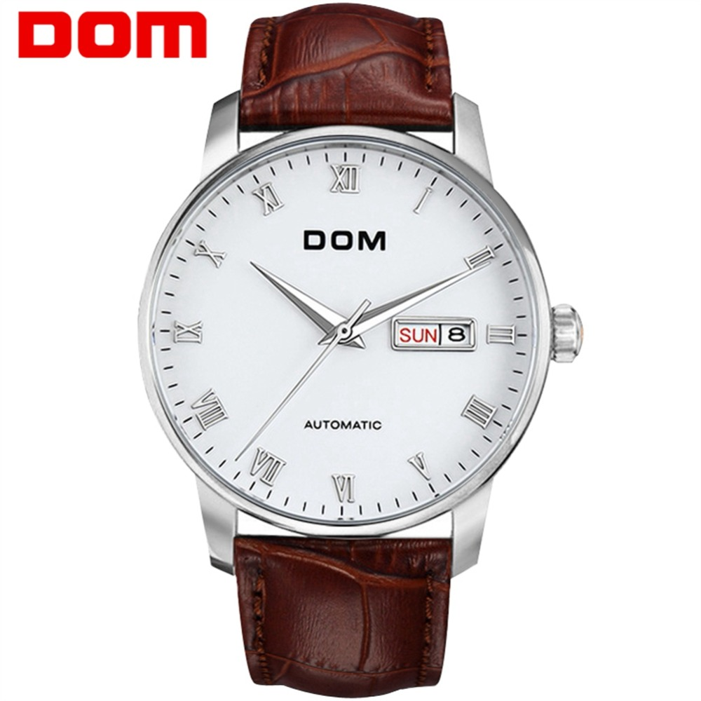 Men watches DOM Waterproof Mechanical Waterproof Wristwatch Top Brand Luxury Man Automatic Watch Business Men Clock M-57L-7M dom top brand luxury fashion male wristwatch quartz leather watchband business watches waterproof watch men watch clock m 36l 7m