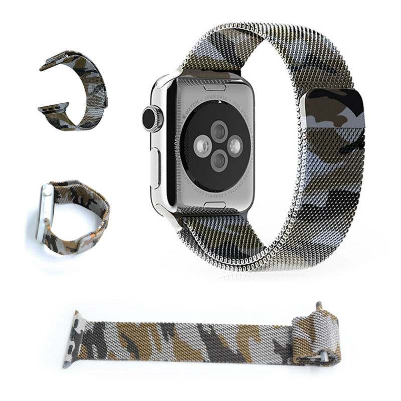 URVOI milanese loop for apple watch camouflage purple wrist strap stainless steel for iwatch Standard Sport with magnetic clip