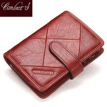 Contacts fashion cartera pequeña de piel auténtica con cremallera para mujer, mini monedero con diseño de cerrojo, tarjetero