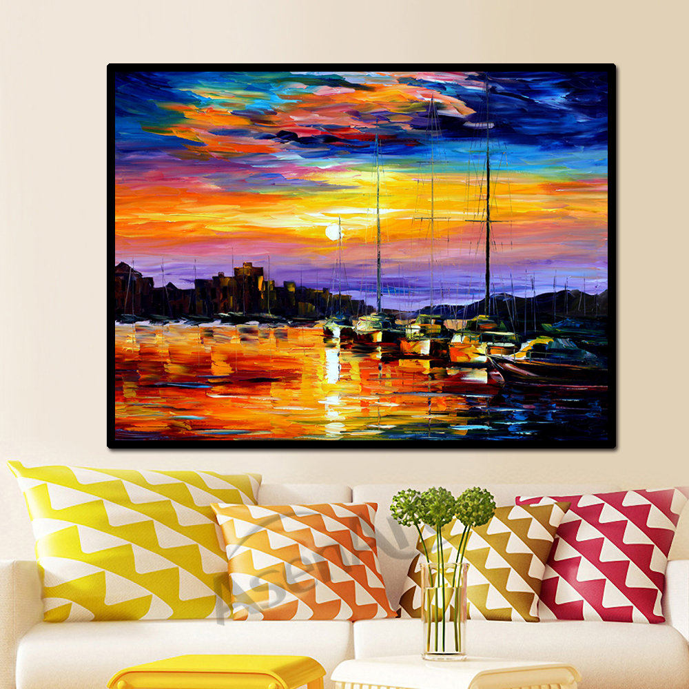 Beautiful Sailing <font><b>Boat</b></font> Scenery <font><b>Knife</b></font> Canvas Painting Print on Canvas Modern Wall Art Picture for Living Room Bedroom Wall Decor image