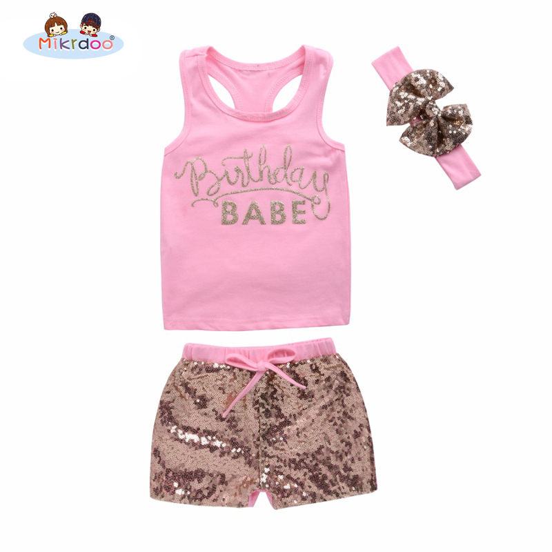 0960b43b73f Mikrdoo Fashion Girl s Suit Pink Summer Style Newborn Baby Girls Cotton  BABE Printed Tops+ Sequin Pants +Headband Outfits 3Pcs