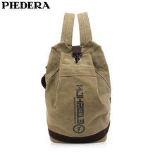 PHEDERA Bucket Style Men Rucksack Retro Casual Male Travel Backpack Outdoor High Quality Canvas Shoulder Bags