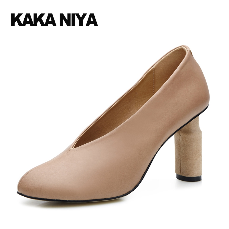 4 34 Small Size Thick Pumps Block Heels Shoes For Women Strange 2017 Round Toe High Abnormal 8cm 3 Inch Nude Special Pull On 2017 women strange autumn brown abnormal evening pointed toe blue catwalk high heels pumps size 4 34 stiletto medium fashion new