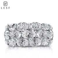 LESF Luxury Ladies Ring 20 Carat Premium Zircon 925 Sterling Silver Pave Rings Wedding Ring Accept Private Custom