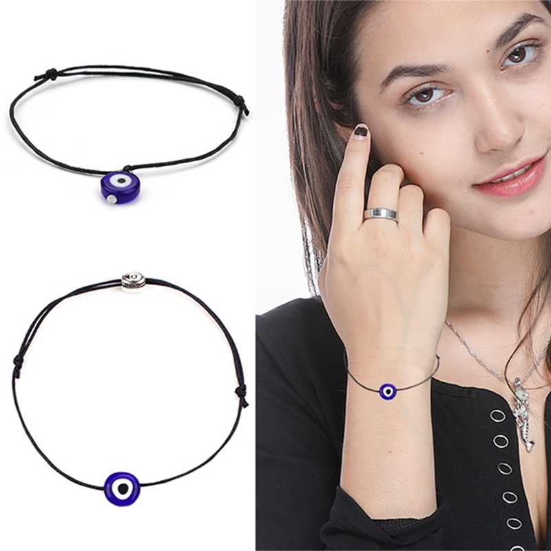 Fashion Thin Black Red Thread Evil Eye Bracelet String Rope Braided Bangles For Women Men Adjustable Length Good Lucky Jewelry