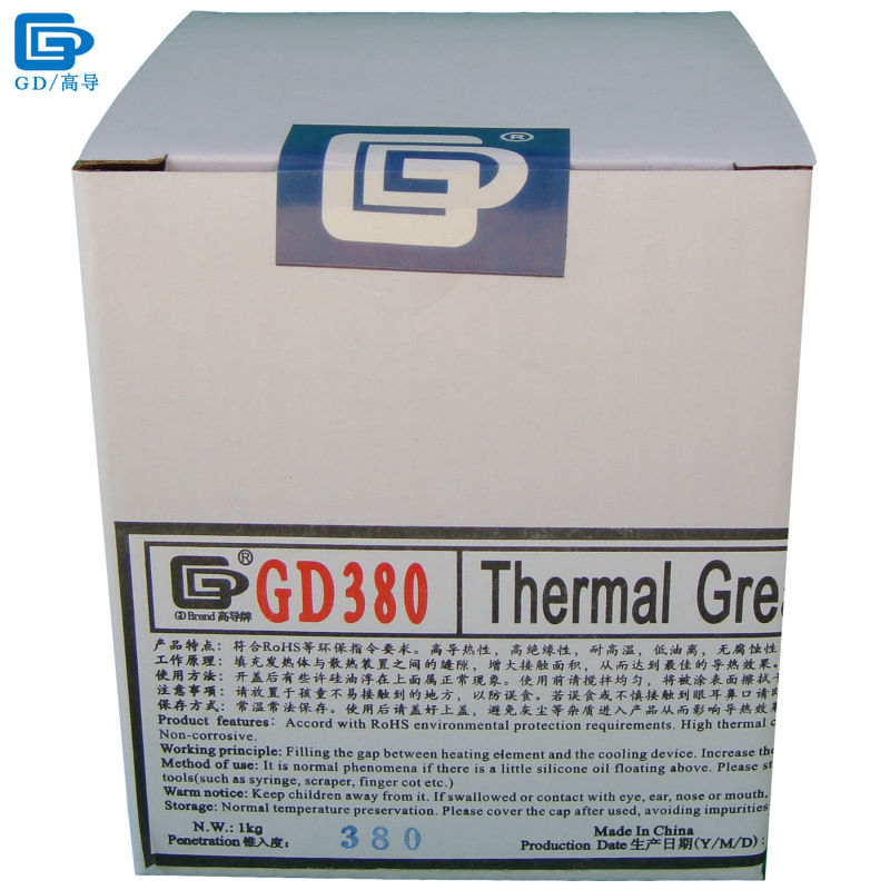 GD380 Thermal Conductive Grease Paste Silicone Plaster Heat Sink Compound Net Weight 1000 Grams Bottle Packaging For LED CN1000 gd brand thermal conductive grease paste silicone plaster gd460 heat sink compound net weight 1000 grams silver for led cn1000