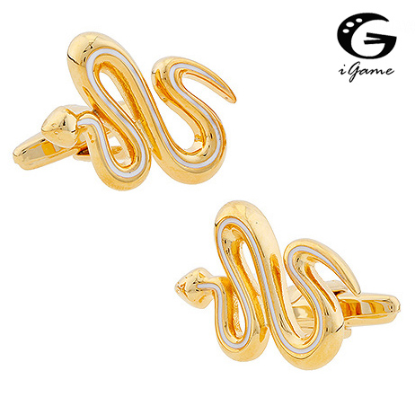IGame Snake Cuff Links Quality Brass Material Gold Color Novelty Animal Design Free Shipping