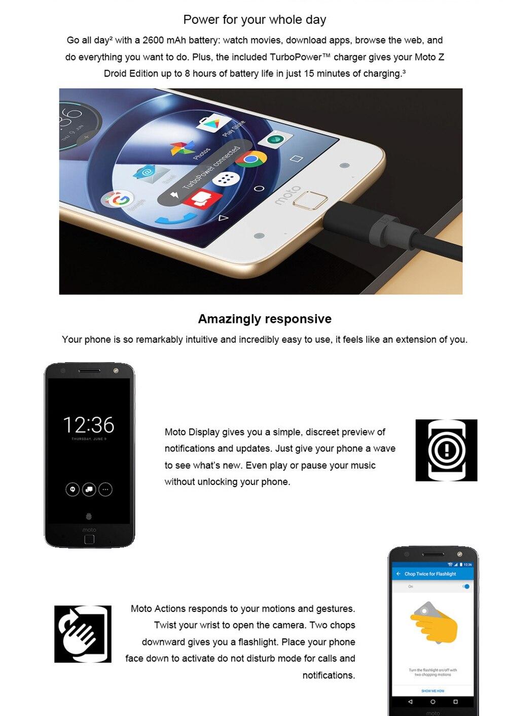 Unlocked Motorola MOTO Z XT1650-01 Mobile Phone Android 4GB RAM 32GB ROM  5 5'' 13 0MP NFC 2560*1440 4G LTE Moto 2600mAh