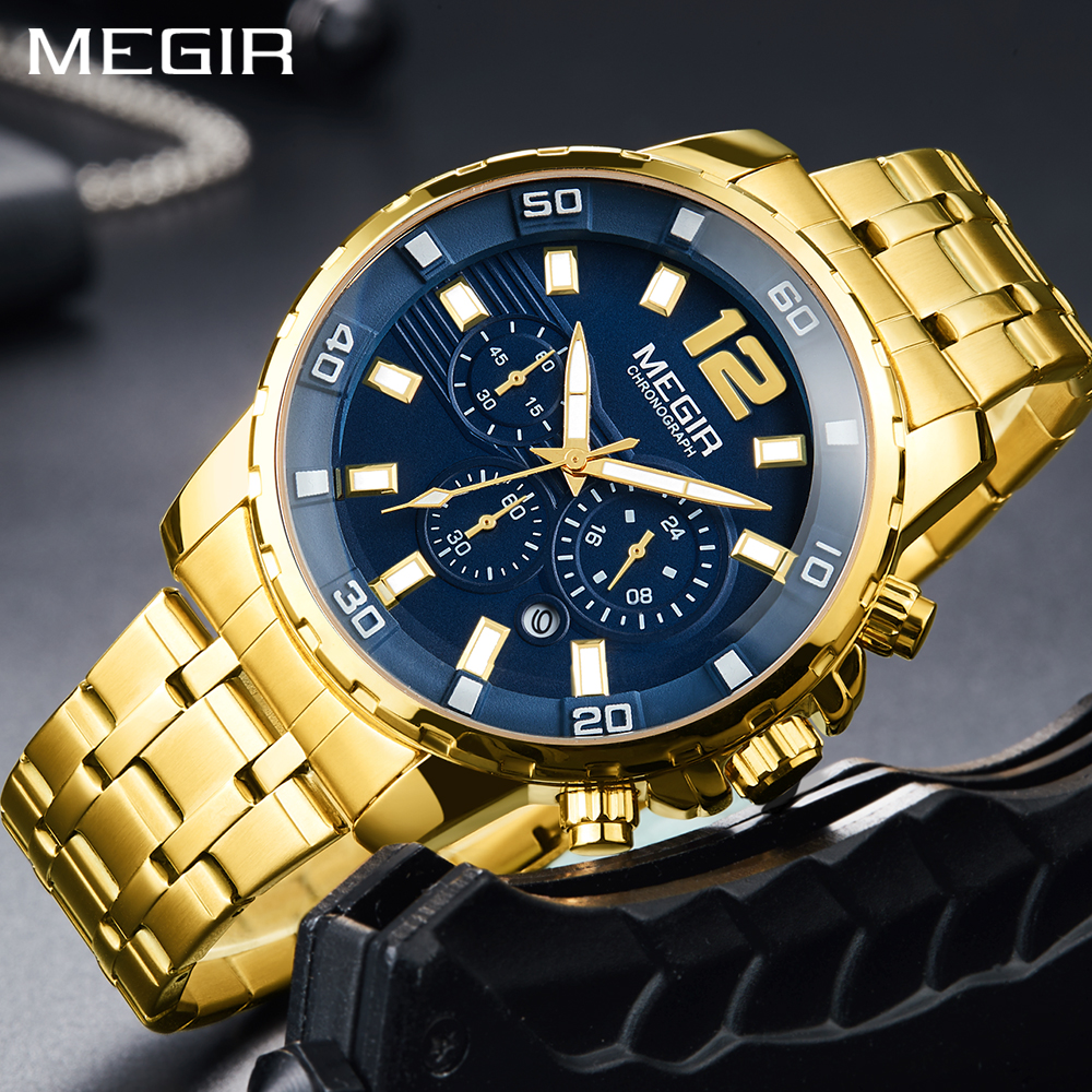 <font><b>MEGIR</b></font> Top Brand Watch Men Fashion Sport Quartz Clock Male Watches Luxury For Men Steel Gold Wrist Watch Relogio Masculino 2018 image