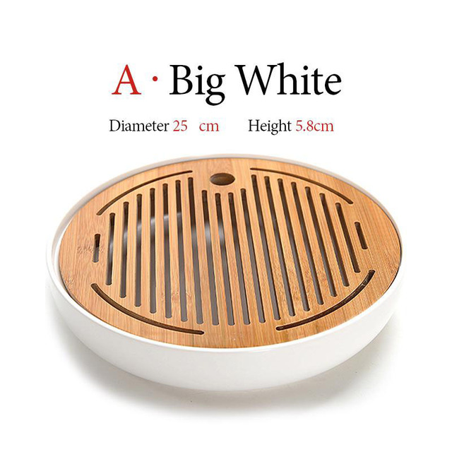 Mini Tea Tray Ceramics Bamboo Water Storage