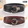 Women Leather Belts Lady Dress Decoration Belt  Smooth Waistband Metal Buckle Belts Wide Elastic Belt Waistband  B-4021