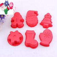 Family Cake Decorating 6 Pieces Christmas Sets Baking Design Chocolate Making Silicone Non Stick Moulds Free