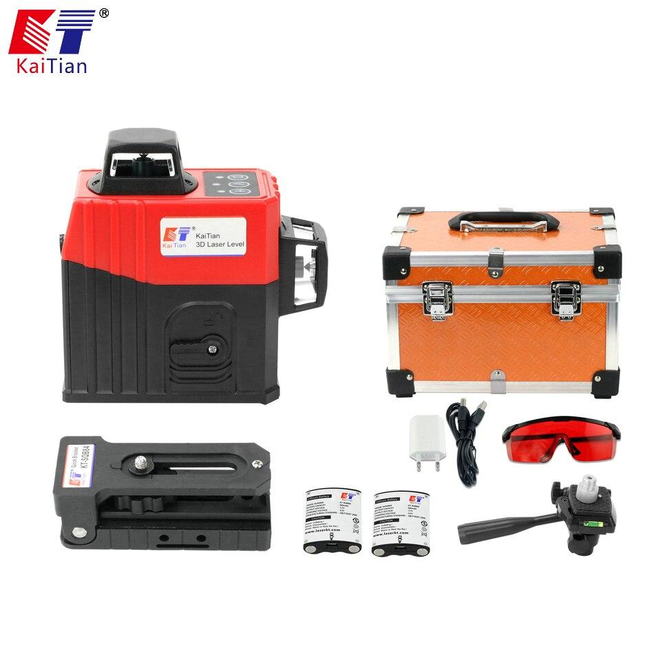 Linhas de Nível A Laser KaiTian 3D 12 Suporte com Bateria & Linhas Horizontais E Verticais Trabalhar Separadamente Linhas de Feixe de Laser Vermelho os níveis de