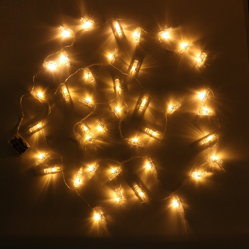 4M 40 LED String Light Christmas Battery Hanging Picture Photo Peg Clip LED Holiday Light Fairy Lights Wedding Decoration
