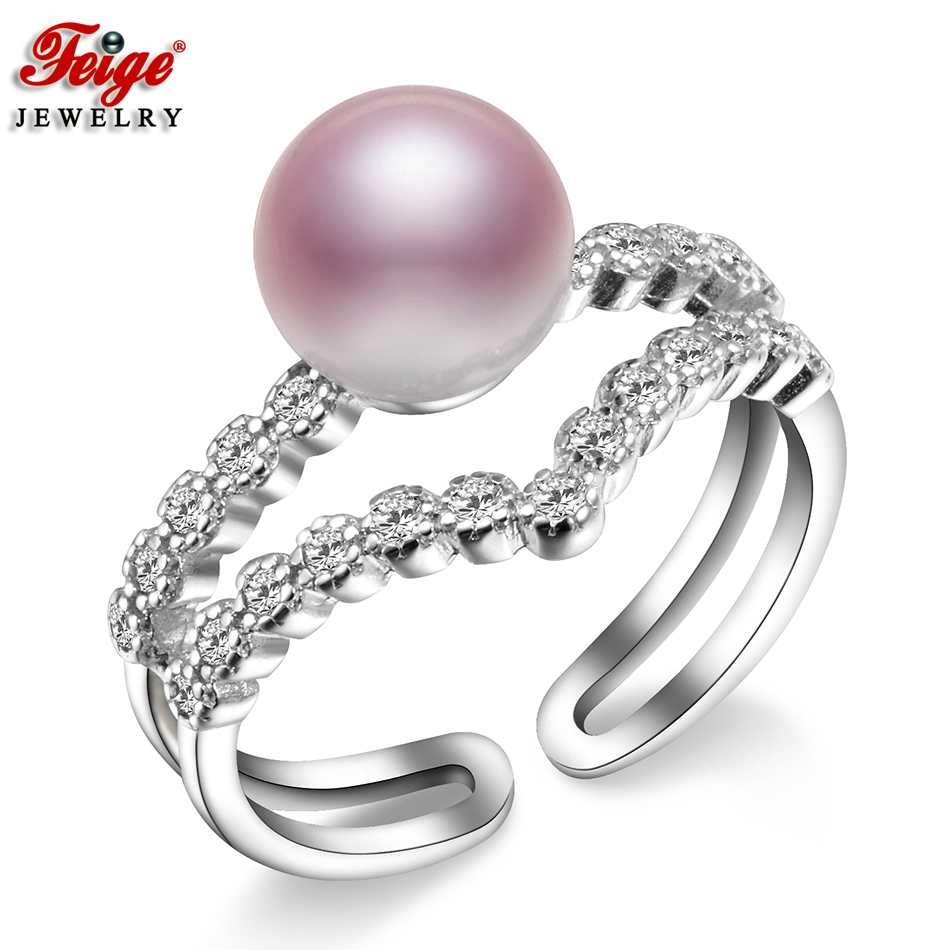Fashionable Pure Pearl Ring For Girls Anniversary Jewellery Items 8-9Mm Purple Freshwater Pearl Ring Nice Jewellery Dropshipping Feige