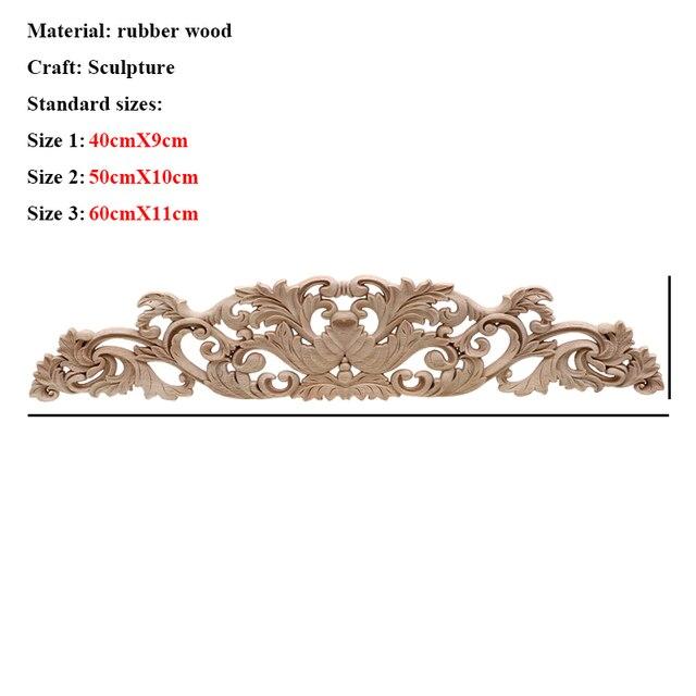 VZLX Floral Wood Carved Corner Applique Vintage Wooden Carving Decal For Furniture Cabinet Door Frame Wall Home Decor Crafts 4