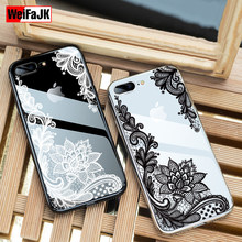 WeiFaJK Official Flower Silicone Case For iPhone 7 6 6s Plus 5s Lace Floral Cases For iPhone 6 6s 7 8 Plus X Soft TPU Back Cover(China)