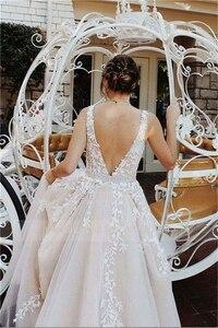 Image 4 - Şık güzel balo kıyafetleri uzun A line V boyun aplike balo elbise abiye boncuk kanat şeftali resmi elbise