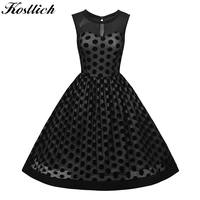 Kostlish 2017 Women Summer Dress Sleeveless Audrey Hepburn 50s 60s Vintage Dress Polka Dot Mesh Perspective