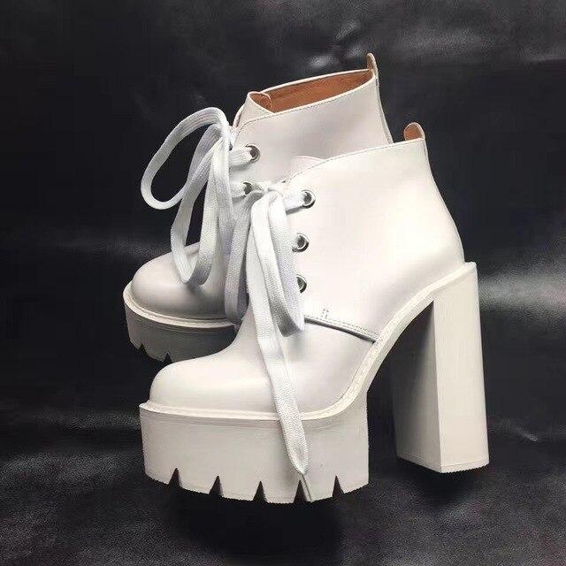 5dc9f22ba46 Botas de tobillo de Mujer Zapatos de Otoño de cuero genuino blanco zapatos  de plataforma de