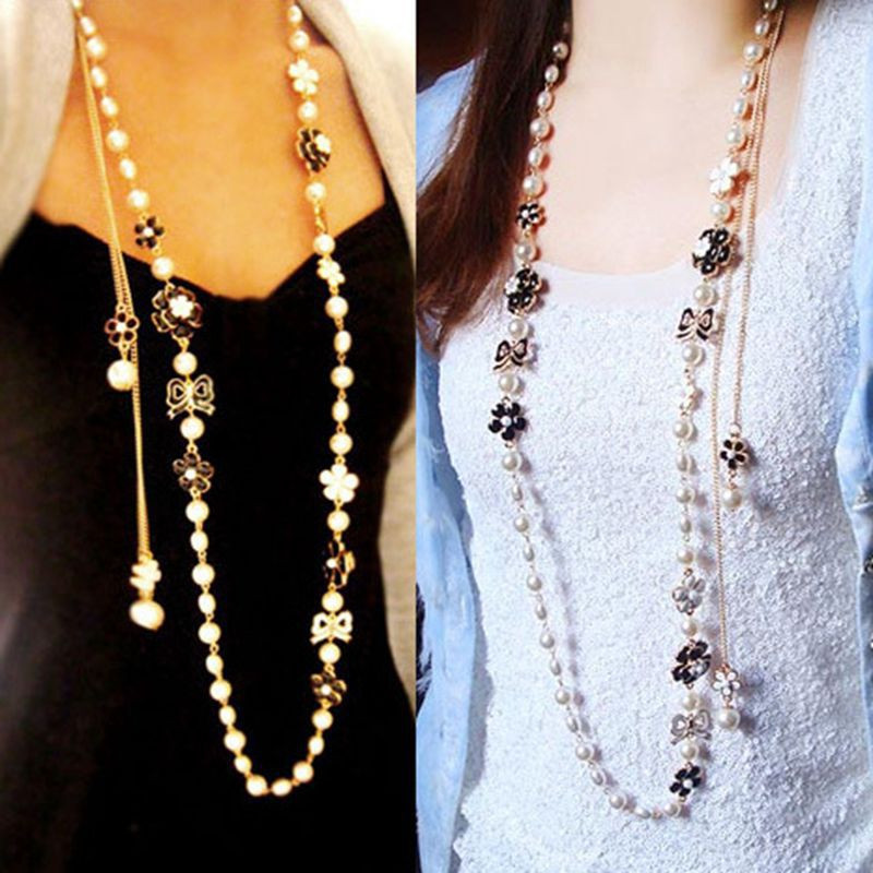 Camellia Acrylic Pearl Necklace Long Collier Perle Jewelry ...