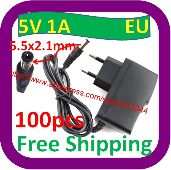 100 pcs Free Shipping AC 110 240V Converter Adapter DC 5V 1000mA 1A EU Plug Charger