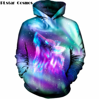 PLstar Cosmos Colorful Space Galaxy Wolf 3D Hoodies 2018 Pullover Hoodie Sweatshirt Men Women Hip Hop Sportswear Pullover