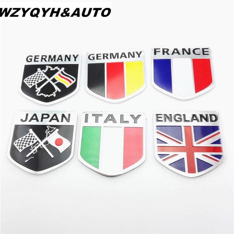 3d Metal Aluminium Flag Logo Car Emblem Badge Decal Sticker For Audi Bmw Vw Skoda Seat Lada Kia