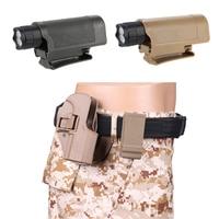 Bolsa de plástico para linterna, funda de cinturón para senderismo, Camping, Led, ajustable, protección al aire libre, accesorios del ejército