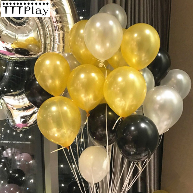 Silver Black Gold Balloons 10pcs 12 Inch Inflatable Latex Helium Wedding Decorations Happy Birthday Party Air