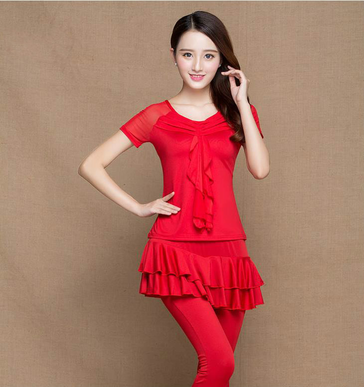 The New Dress Suits Latin Square Dance Dance Dress Older Adult Womens Costumes Culottes Short-sleeved Clothes Jump Dance