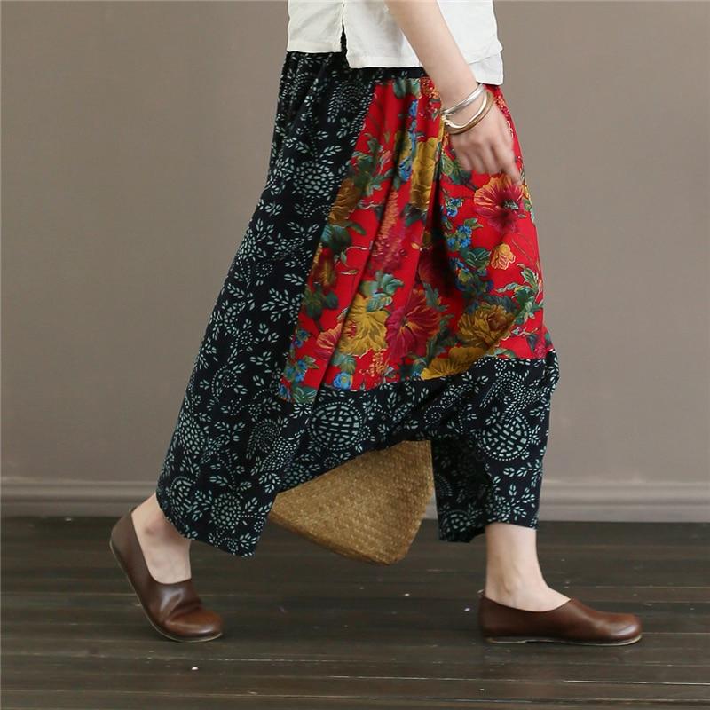 Elástico Mujeres Nuevo Cruz Vintage Floral Pantalones Cabeza Wiood Algodón Colour Verano Cintura Patchwork Mujer Casual 2018 YqCR45pw