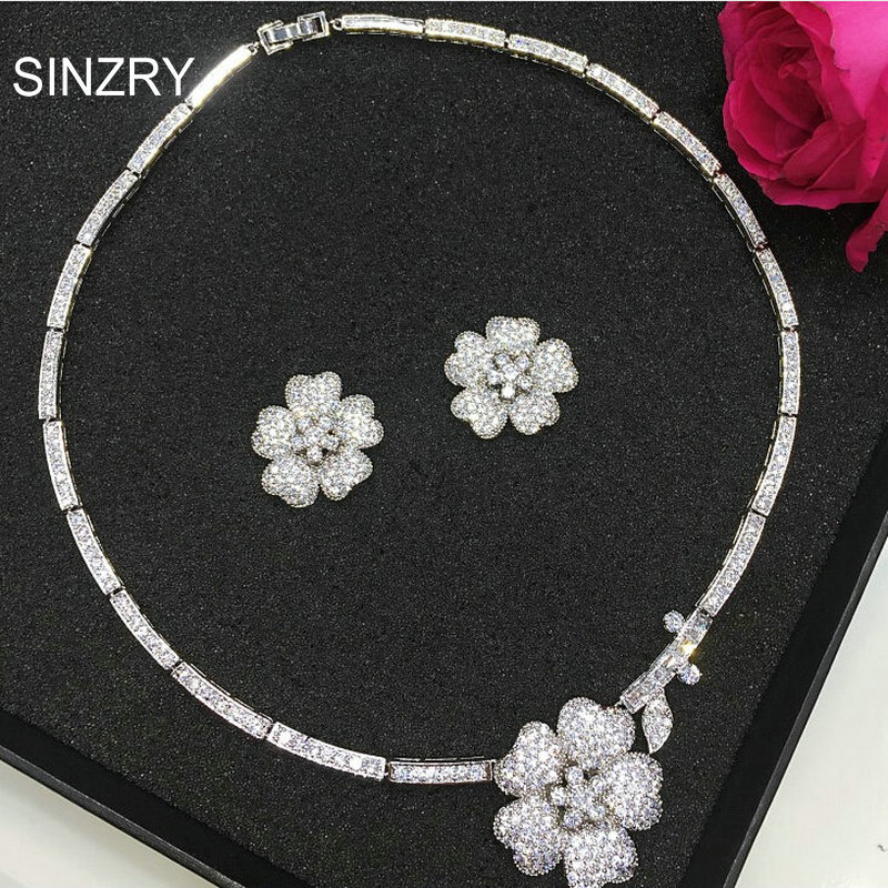 SINZRY Luxury bridal jewelry set white cubic zircon flower chokers necklace earring wedding jewelry sets madrry elegant flower shape copper jewelry sets full cubic zircon necklace