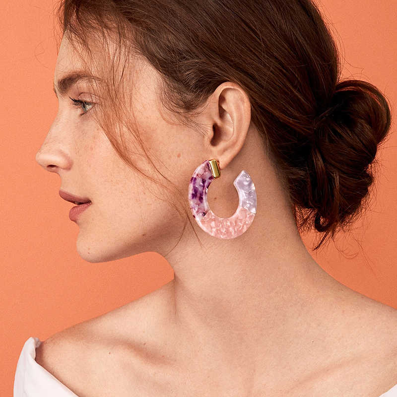 2019 New Beach Multicolor Statement Earrings Acrylic Big Hollow Round Circle Geometry Resin Dangle Drop Earring Women Jewelry