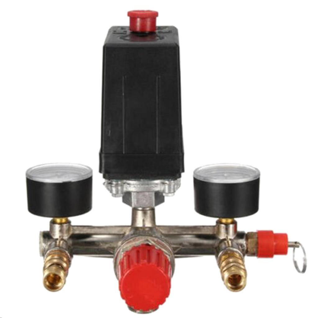 Air Compressor Pressure Valve Switch Manifold Regulator Gauge 175psi-in Pneumatic Parts from Home Improvement